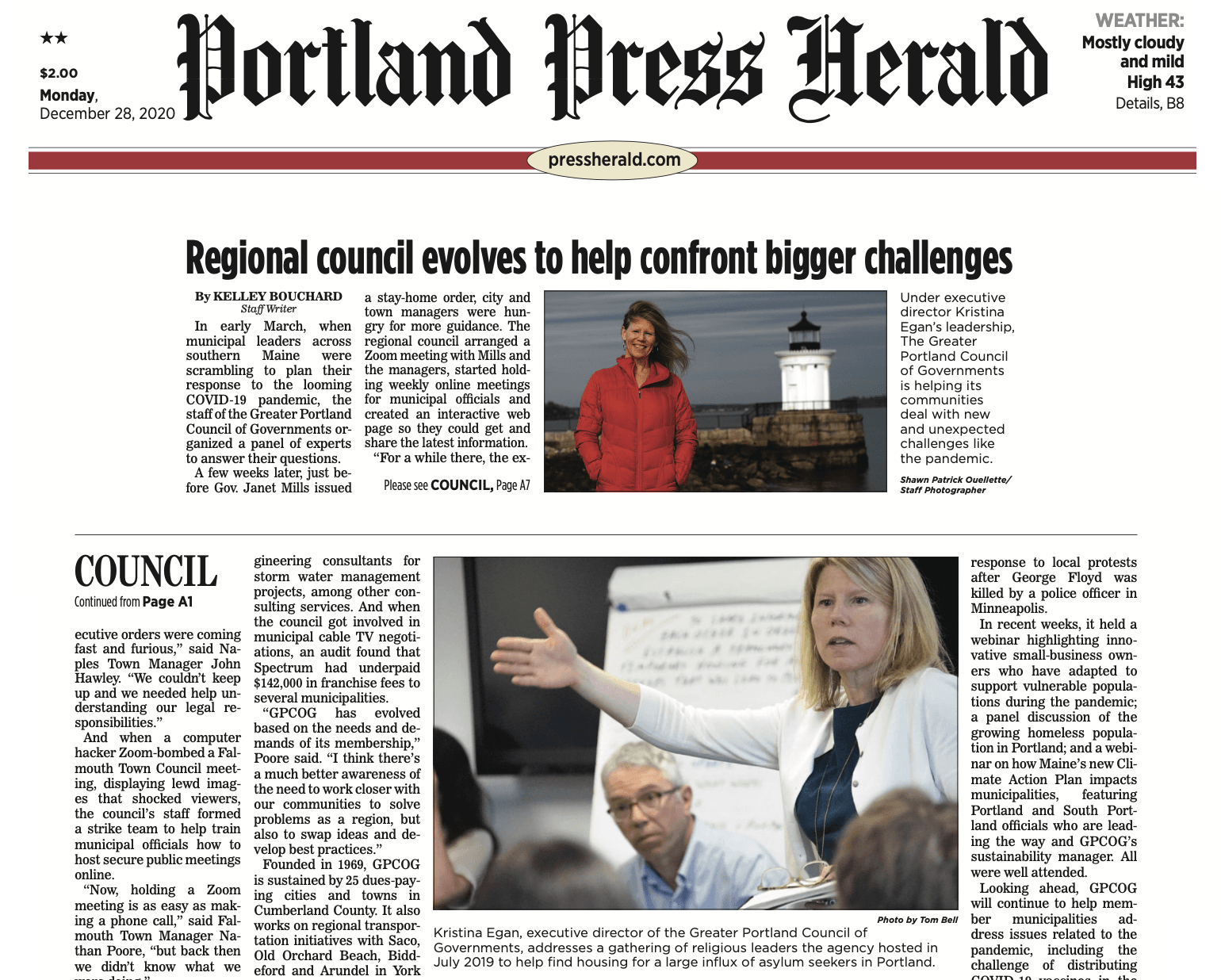 Photo of front page of Portland Press Herald